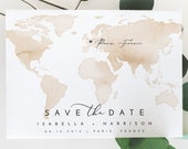 Destination Wedding Save the Date Template, Watercolor Map Save the Date Postcard, Map Save the Dates, Travel Save the Date, Templett Invite