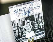 Blue and Grey Wedding Save the Date, Modern Wedding Pictures, Save the Date Cards Dramatic Script Save the Date Photo Postcard DEPOSIT
