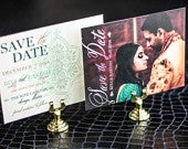 Indian Wedding Invitations, Indian Save the Dates, Henna Design, Arabic Invitations Modern Henna Save the Date Photo Postcard DEPOSIT