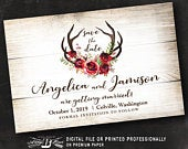 Rustic Save the Date Postcard Deer Save the Date Marsala Red Roses Horns Antler Fall Save the Date Postcard Printed or Printable