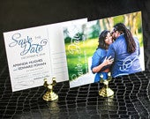 Engagement Postcard, Modern Wedding Save the Date, Blue and Grey Modern Swirl and Flourish Save the Date Photo Postcard DEPOSIT