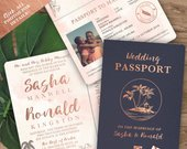 Beach Wedding Passport Save the Date Destination Invitation Set in Rose Gold Watercolor Tropical by Luckyladypaper see details to order
