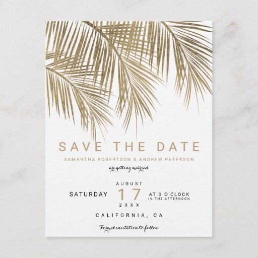 Modern gold palm tree elegant save the date Announcement Postcard