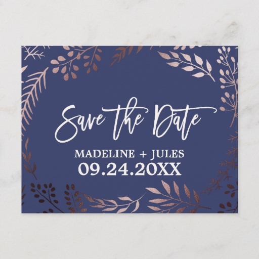 Elegant Rose Gold and Navy Wedding Save the Date Announcement Postcard