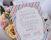 Wedding Invitation, Retro Stripe Vintage Frame Wedding Collection as featured by Merge Photography