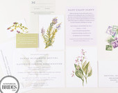 Herbal Botanical Wedding Invitations, As Seen in Brides Magazine, Lavender and Green, Vintage Botanical Watercolor Invitations, Civil Union