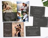 Modern Romantic Flowery Gray Opaque LDS Wedding Invitation With Pictures Package