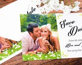 Save The Date Cards 5 x 7 Formal Foliage Wedding Announcement Cards Save The Dates Custom Save the Dates Photo Cards satd153