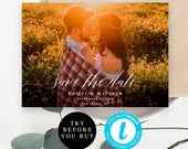 Photo save the date template Custom save the date Save the date photo template Instant download Photo save the date printable Templett vm51