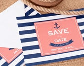 Nautical Stripes Save The Date Cards 5 x 7 Wedding Announcement Cards Save The Dates Custom Save the Date Photo Card satd211