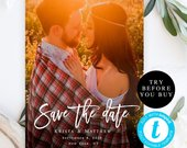 Photo save the date template DIY save the date Save the date photo template Wedding announcement cards Photo save the date printable vm91
