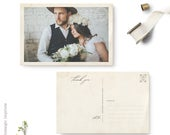 Wedding thank you cards with photo, 4x6 Custom thank you note postcards, Straight or torn deckled edges, the Magdalena
