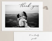Photo Wedding Thank You Cards, Wedding Thank You Notes, Template, Add Own Photo Thank You Card Printable Thank You Card Modern Thank You