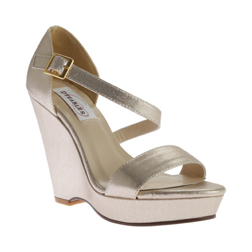 Women's Dyeables Karen Strappy Wedge Sandal, Size: 9.5 M, Nude Shimmer