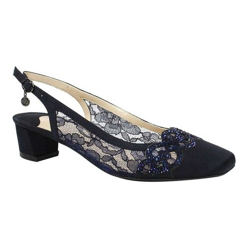 Women's J. Renee Faleece Low Block Heel Slingback, Size: 11 M, Navy Lace/Satin