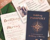 Destination Wedding Passport Invitation Set in Rose Gold and Blush Watercolor Compass Design by Luckyladypaper see item details to order