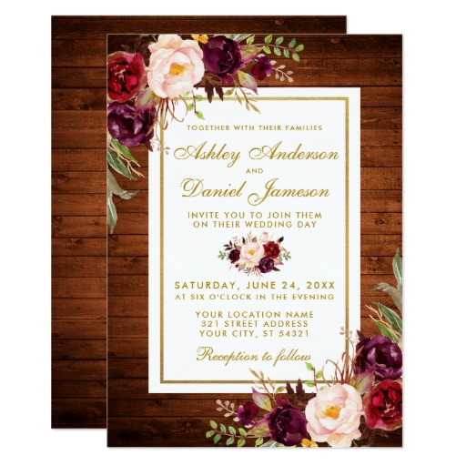 Rustic Wedding Wood Burgundy Floral Wedding Invite