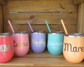 Wine Tumbler, Personalized Wine Tumblers, Stainless Steel Monogram Wine Tumbler, Bachelorette gifts, Bridesmaid Proposals 12 oz set of 1