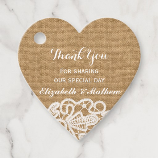 Rustic Wedding Burlap Lace Thank You Favor Tags