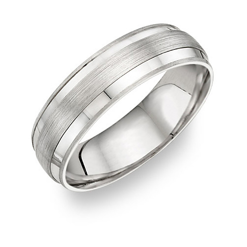 Platinum Wedding Band Ring with Brushed Center Design