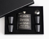 Groomsmen Gift, Personalized, Flask for Gift Box Set, Groom, Best Man, Bridesmaid, Proposal, Wedding Favors, Engraved Gifts, for Her, Him