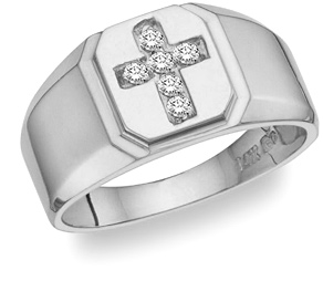 Men's White Topaz Gemstone Cross Ring in Sterling Silver