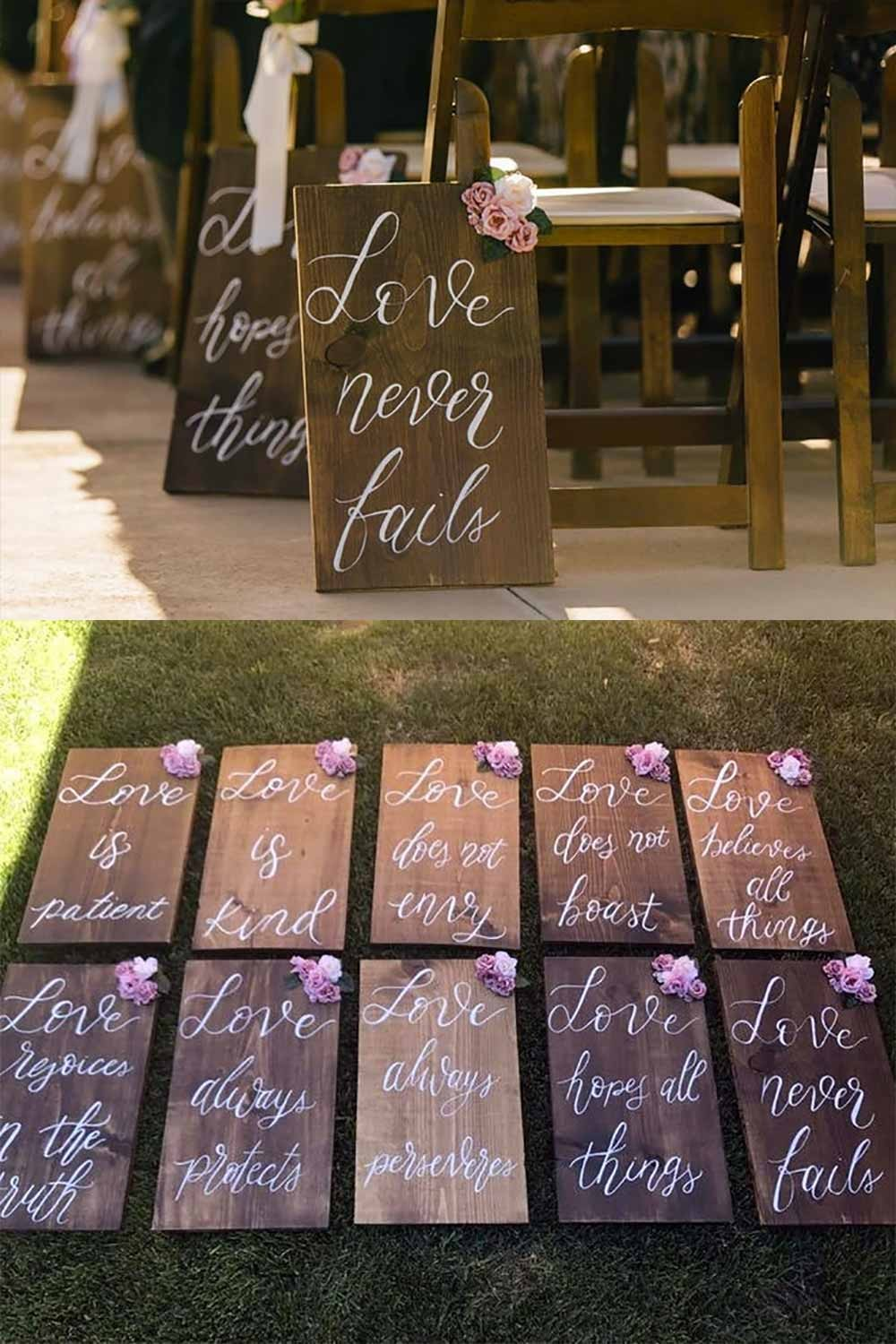 "10 Large bible verse wedding aisle signs. Love is Patient, Love is Kind, and eight more. 12""x 16"" Corinthians. Learn more or buy in the My Online Wedding Help products section. $180.00"