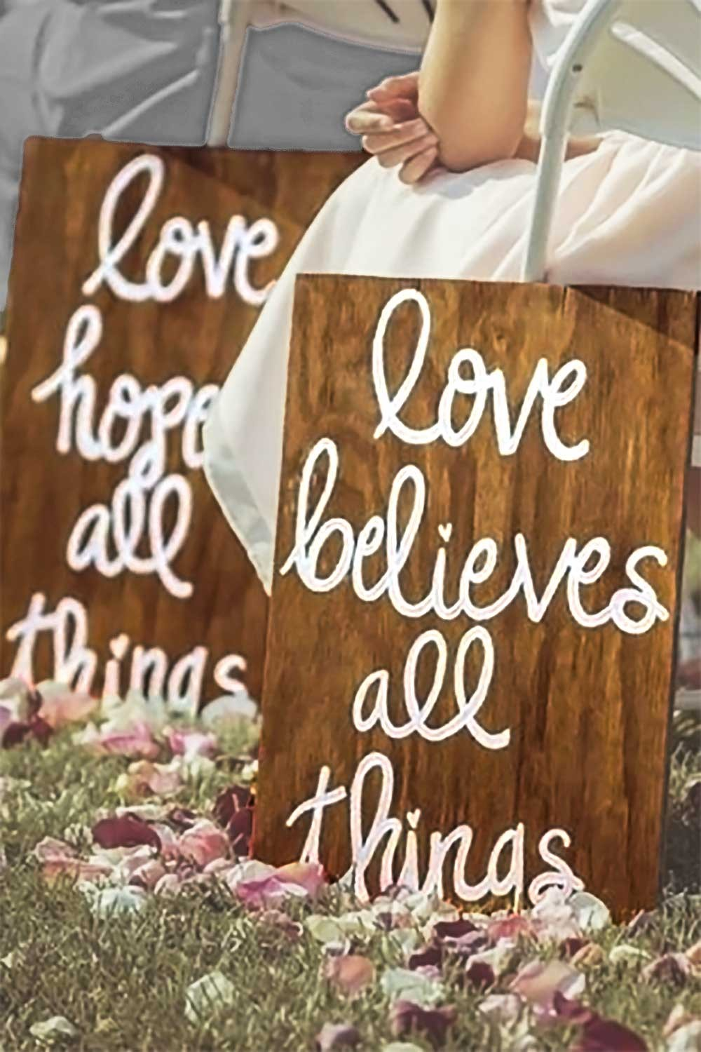 Rustic religious aisle marker decorations...1 Corinthians 13. They can do double duty as part of reception centerpieces and later as home decor. 10 total: love is patient. love is kind. love does not envy. love does not boast. love believes all things. love rejoices in the truth. love always protects. love always perseveres. love hopes all things. love never fails. Choice of three stains. Personalization is available. $140.00