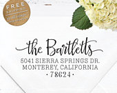 Custom Address Stamp Self Inking Wedding address stamp Engagement Housewarming Gift Personalized Return Address Stamp Bartlett