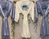 Dusty Blue Bridesmaid Robes, Bridal Robes, Bridal Robe, Floral Bridesmaid Robe, Wedding, Wedding Party Robes, Bride Robe, Bridesmaid Gift