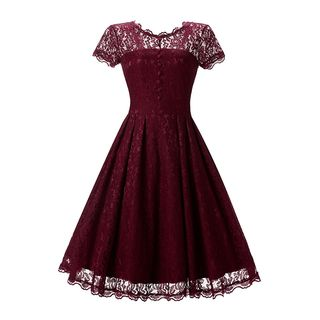 Lace Trim Short-Sleeve A-Line Party Dress
