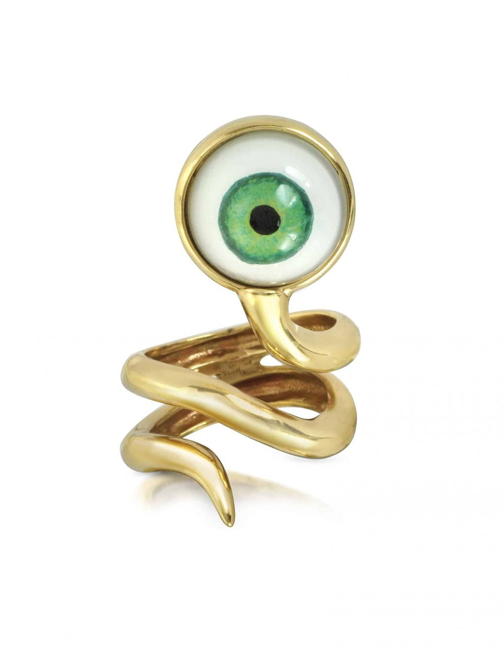 Bernard Delettrez Rings Bronze Snake Ring With Eye