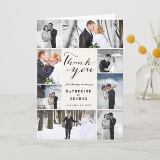 Modern Classy Script 8 Multi Photo Stylish Wedding Thank You Card