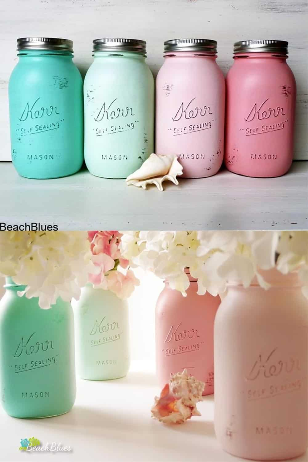 Pastel beach theme mason jars for a Summer wedding. Four painted quart jars are included. $36.00 Learn more or buy in the My Online Wedding Help Products Section.