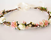 Blush flower crown. Rustic floral crown in shades of pink, peach, and blush. Bridal headpiece. Bridesmaids wreath. Flower girls headband.