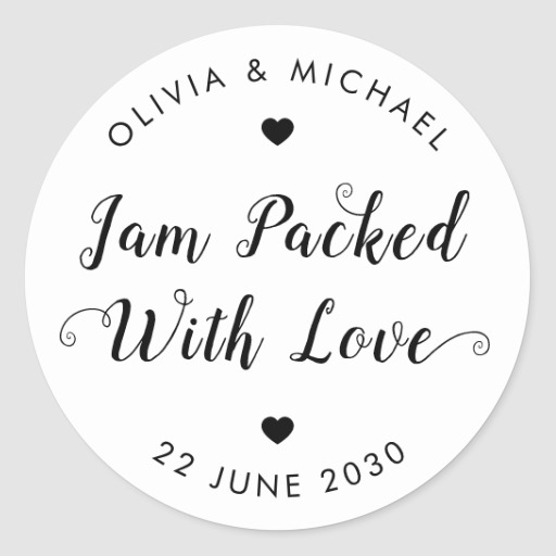 Jam Packed With Love Wedding Party Jam Jar Favor Classic Round Sticker