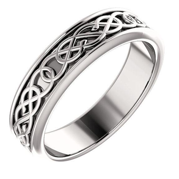 Celtic Pretzel-Knot Wedding Band Ring in 14K White Gold for Men