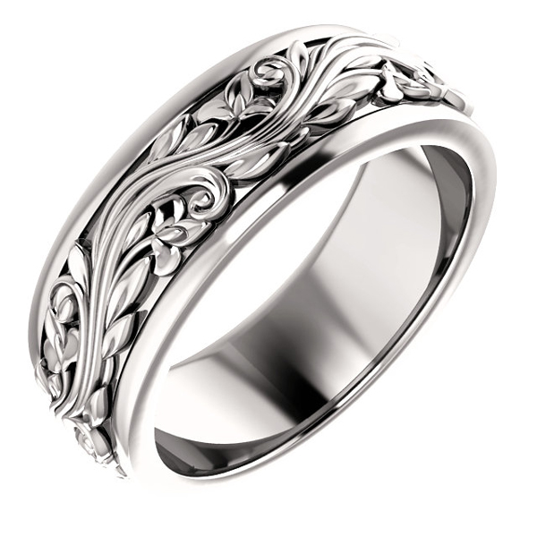 Men's Paisley Sculpted 14K White Gold Wedding Band Ring