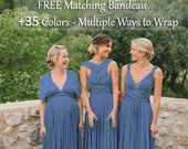 Steel Blue Bridesmaid Dress, infinity dress, Multiway Dress, Convertible dress, Multi Wrap dresse cocktail dress