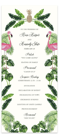 Tropical Foil-Pressed Wedding Programs