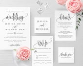 Wedding Invitation Template Printable Editable Rustic Wedding Invitation Suite Template Kit Templett Wedding Invitation Template Suite R1