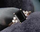 Black Onyx engagement ring women emerald cut diamond rose gold wedding vintage ring for women art deco wedding gifts for her anniversary
