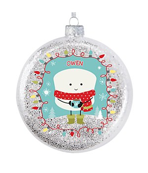 Personalized Lovable Marshmallow Holiday Glitter Glass Ornament - Red Scarf