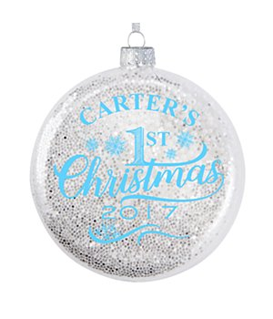 Personalized Baby's 1St Christmas Glitter Glass Ornament - Blue