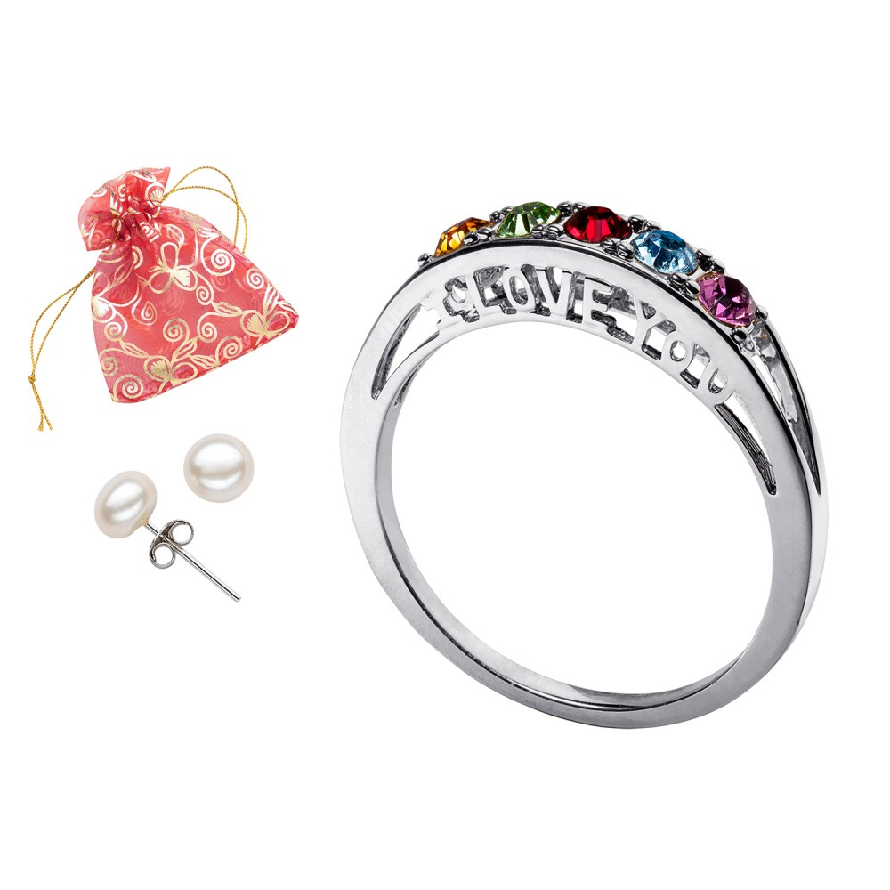 I Love You Family Birthstone Ring With Free Pearl Earrings - Pierced