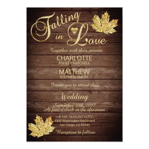 Elegant FALLING in LOVE Rustic Country Wedding Invitation