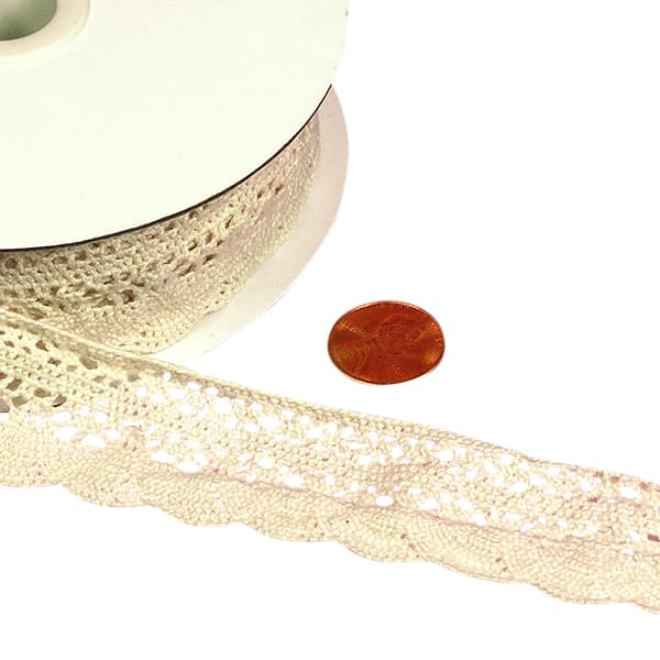 "Ivory Cotton Crochet Lace Trim - 1-1/4"" X 10 Yards - Ribbon by Paper Mart"