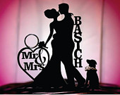 Personalized Silhouette Wedding Cake Topper Dog, Mr Mrs Wedding Cake Topper, Bride and Groom Dog Cake Topper, MADE In USA,