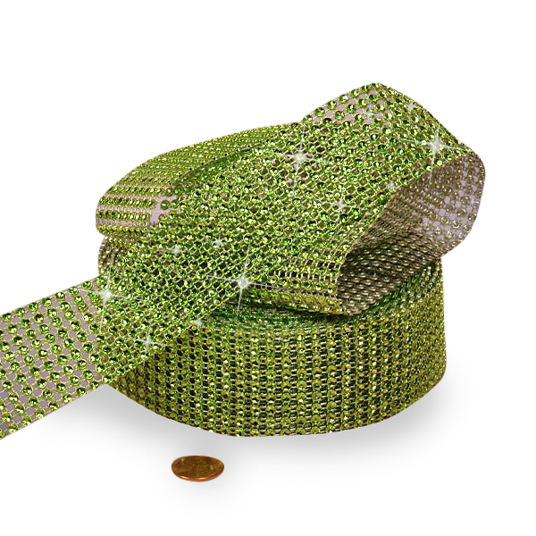 "Mesh Sparkle Rhinestone Lime Green Jewel Ribbon - 1-1/2"" X 9yd - Cords by Paper Mart"