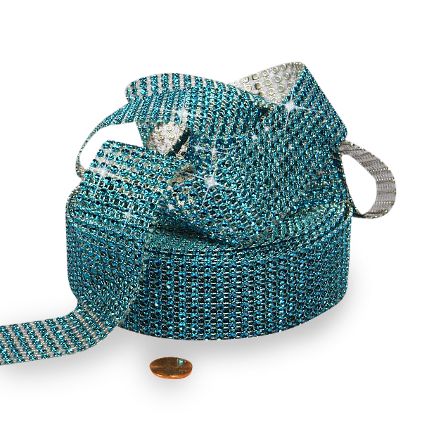 "Mesh Sparkle Rhinestone Turquoise Jewel Ribbon - 1-1/2"" X 9yd - Cords by Paper Mart"